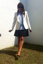 ivory Zara blazer - Zara shirt - black faux leather Forever 21 skirt