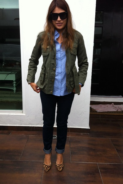 Forever 21 jeans - green parka asos jacket - blue Massimo Dutti shirt