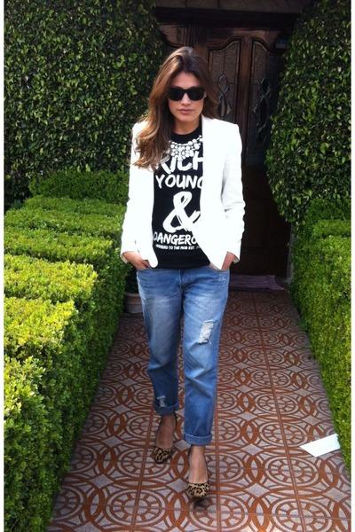 ivory Zara blazer - boyfriend asos jeans - black t-shirt - leopard print pumps