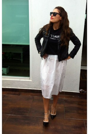 black biker jacket - black t-shirt - white midi skirt