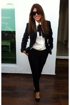 black Bershka suit - ivory Sheinside blouse - black H&M pants