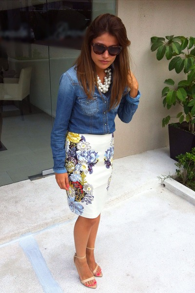 pencil H&M skirt - denim Bershka shirt - Zara sandals
