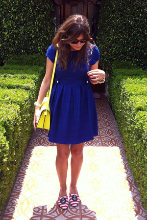 navy asos dress - yellow Zara bag - Zara loafers