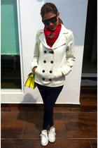 red Zara scarf - ivory Mango coat - blue Sfera leggings - Zara bag
