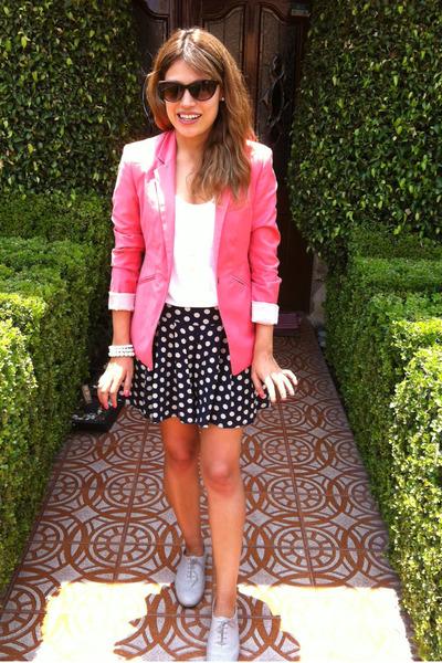 polka dot Forever 21 skirt - bubble gum Bershka blazer