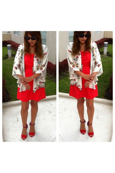 carrot orange Forever 21 dress - kimono Zara blouse - Zara heels