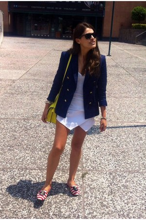 blue Zara blazer - white Sheinside shorts - Zara loafers
