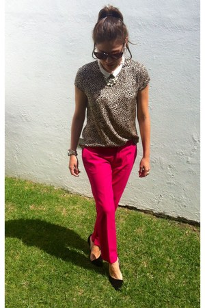 Zara blouse - hot pink Zara pants - black Zara pumps