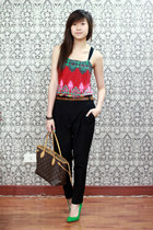 chartreuse Zara heels - hot pink Forever 21 dress - black Zara pants