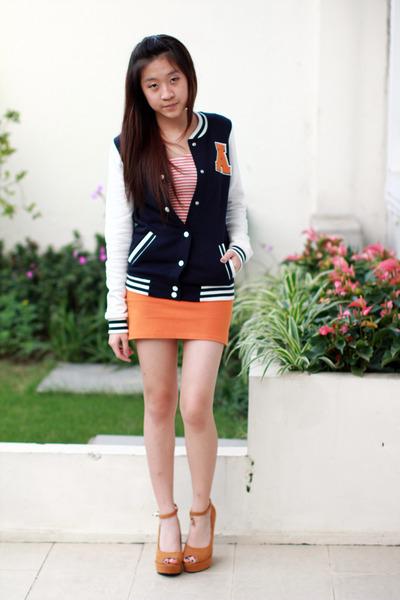 Navy Bershka Jackets, Carrot Orange Zara Skirts