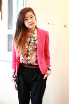 hot pink Zara blazer - salmon Zara blouse