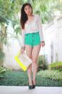 Yellow-bershka-bag-aquamarine-love-culture-shorts-navy-aldo-heels