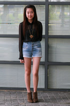 black Zara blouse - sky blue Zara shorts - bronze stuart weitzman wedges