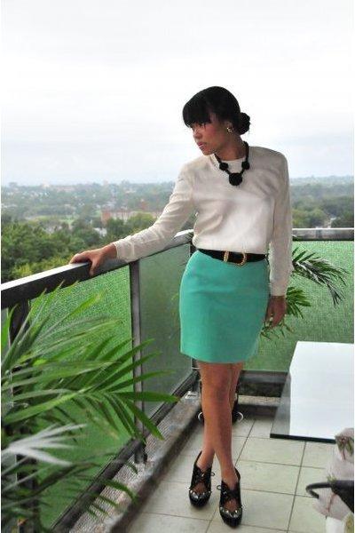 emporio armani blouse - Chanel skirt - vintage necklace - vintage belt - KG shoe