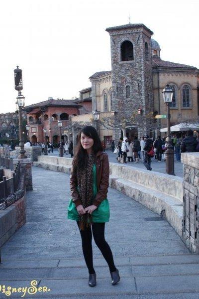 green Topshop dress - gray Zara boots - brown bardot jacket - Zara tights