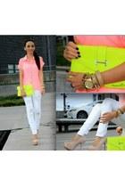 yellow neon Mango purse - white Bershka jeans - pink Bershka shirt