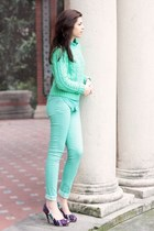 aquamarine mint Pimkie jeans - purple shoes - aquamarine mint pull&bear sweater