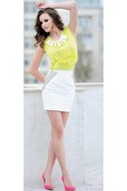 white skirt - pink shoes - yellow blouse