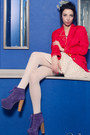 Red-jacket-off-white-skirt-amethyst-heels