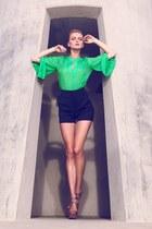 chartreuse shirt - black shorts - nude heels