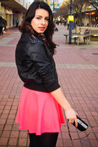 Leather DIY jacket - hot pink Lulus dress