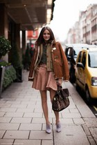 brown jacket - periwinkle boots - light pink skirt - army green top