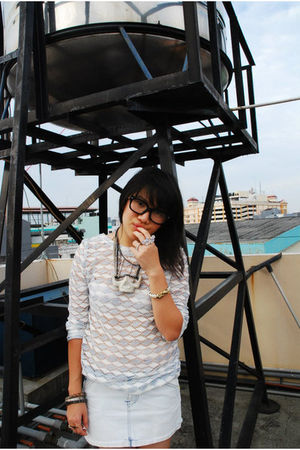 white NIKICIO shirt - white shirt - blue Zara skirt - gray g h o s t necklace