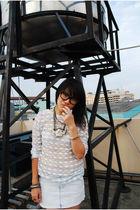 white NIKICIO shirt - white shirt - blue Zara skirt - gray g h o s t necklace