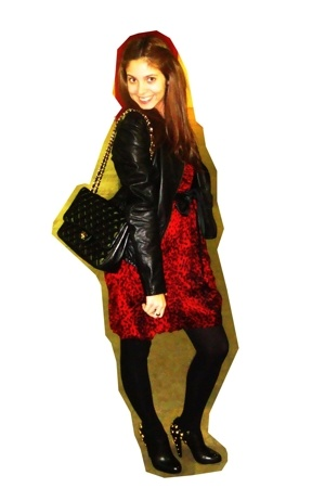 jacket - dress - purse - belt - tights - shoes