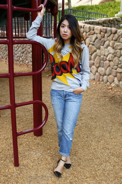 light blue boyfriend Gap jeans - heather gray Phillip Lim for Target sweatshirt