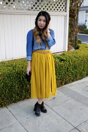 mustard midi Topshop skirt - black Target boots - blue denim Democracy shirt