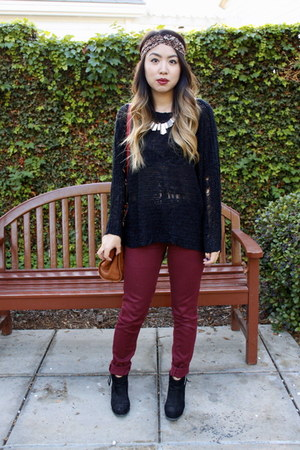 black Forever 21 boots - maroon Zara jeans - black shredded Tobi sweater
