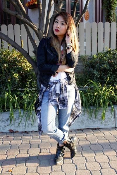 black Dolce Vita for Target boots - light blue boyfriend Gap jeans