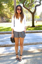 white no brand shirt - gray brandy melville shorts