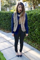 navy no brand shirt - black H&M pants - light brown faux fur Forever 21 vest