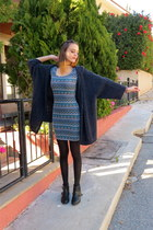 black Pull & Bear boots - teal Pull & Bear dress - navy Uncles Cardigan cardigan