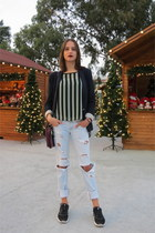 black nike sneakers - light blue Zara jeans - navy Zara blazer