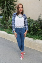 white Zara blouse - blue Pull & Bear jeans - brown Zara hat - navy H&M shirt