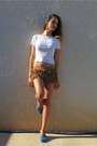 Brown-zara-shorts-blue-soludos-flats-white-daniel-and-mayer-t-shirt