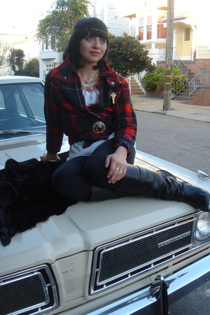 black leather slouchy zodiac boots - wool plaid thrifted vintage jacket - black