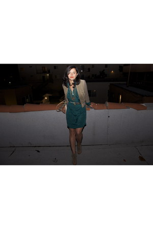 green silk dress thrifted vintage dress - dark khaki thrifted vintage jacket - b