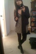 H&M scarf - H&M blazer - Bebe Sport dress - Forever 21 leggings - Forever 21 sho
