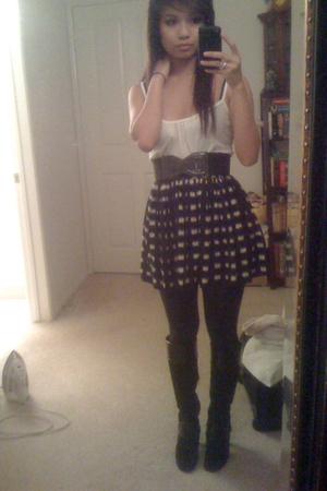 black Forever 21 skirt - black Nine West boots - black Forever 21 leggings