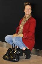 ruby red Ralph Lauren blazer - camel Joe Fresh sweater - blue H&M leggings - bla