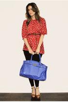 red Market Publique blouse - black H&M leggings - brown Aldo shoes - blue Aldo b