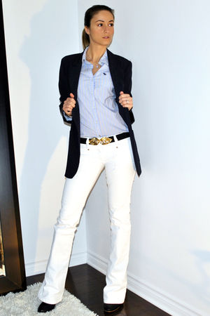 blue Forever 21 blazer - blue abercrombie and fitch shirt - white parasuco jeans
