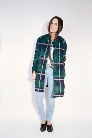 dark green plaid coat Oasapcom coat - light blue River Island jeans