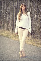 light pink Ardene jeans - white knit zara mens sweater - nude Aldo heels - dark