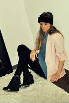 pink Ebay blazer - blue Forever 21 shirt - black American Apparel leggings - bla