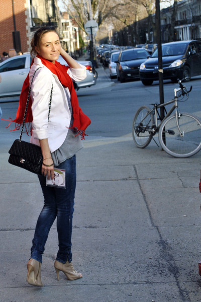 beige Aldo boots - blue Zara jeans - white Zara blazer - red Ardene scarf